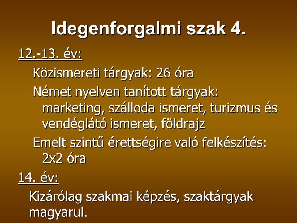 Idegenforgalmi szak 4. 12.-13. év: Közismereti tárgyak: 26 óra Német nyelven tanított tárgyak: marketing, szálloda ismeret, turizmus és vendéglátó ism