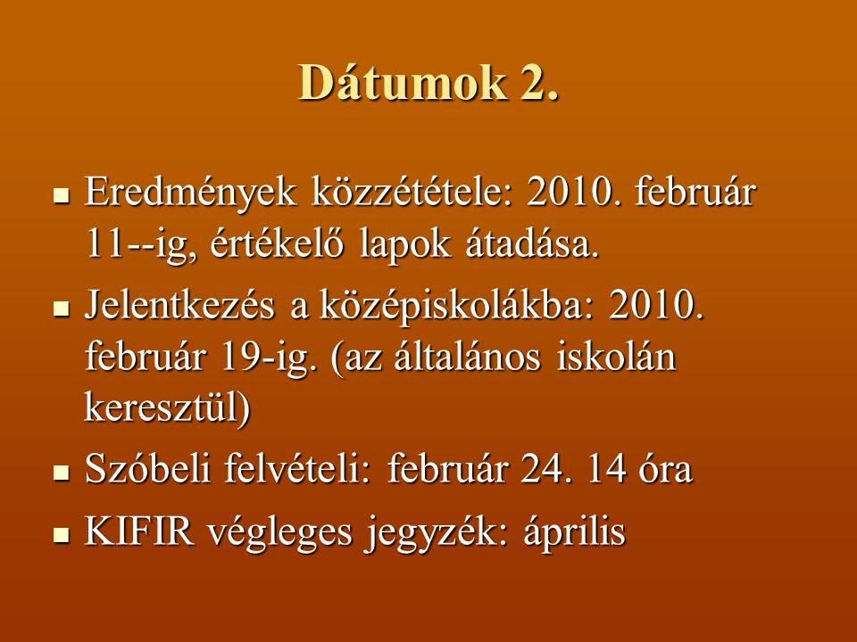 Dátumok 2. Eredmények közzététele: 2010. február 11--ig, értékelő lapok átadása. Eredmények közzététele: 2010. február 11--ig, értékelő lapok átadása.