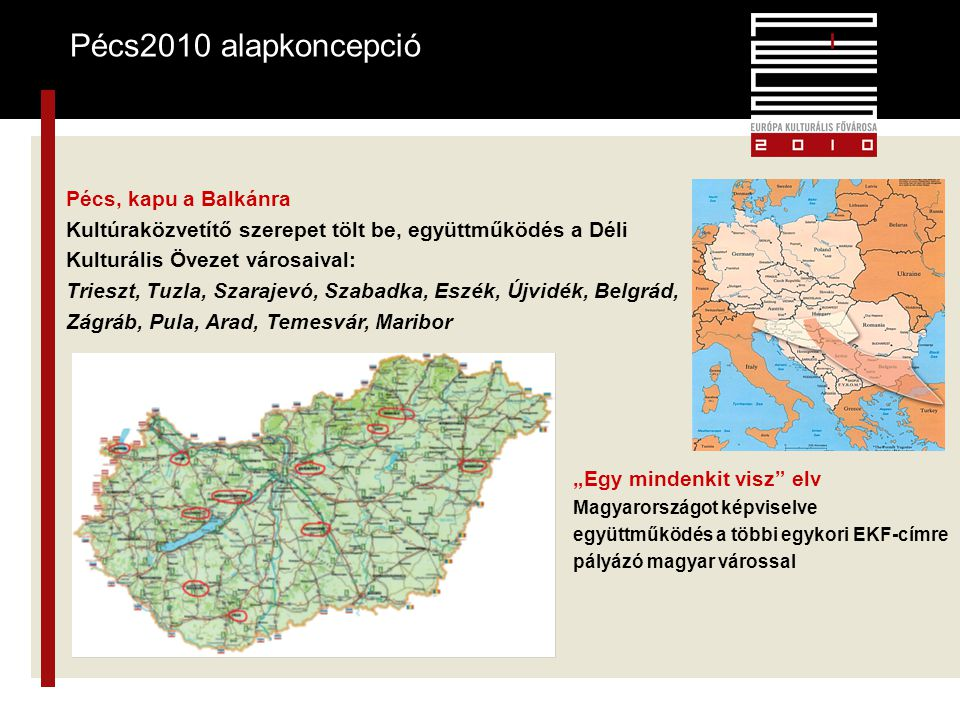 """3 Pécs2010 alapkoncepció 3 Pécs, kapu a Balkánra Kultúraközvetítő szerepet tölt be, együttműködés a Déli Kulturális Övezet városaival: Trieszt, Tuzla, Szarajevó, Szabadka, Eszék, Újvidék, Belgrád, Zágráb, Pula, Arad, Temesvár, Maribor """"Egy mindenkit visz elv Magyarországot képviselve együttműködés a többi egykori EKF-címre pályázó magyar várossal"""