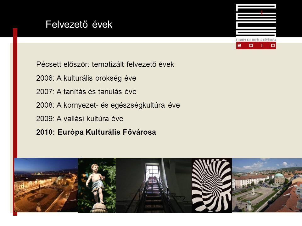 4 Felvezető évek Pécsett először: tematizált felvezető évek 2006: A kulturális örökség éve 2007: A tanítás és tanulás éve 2008: A környezet- és egészségkultúra éve 2009: A vallási kultúra éve 2010: Európa Kulturális Fővárosa