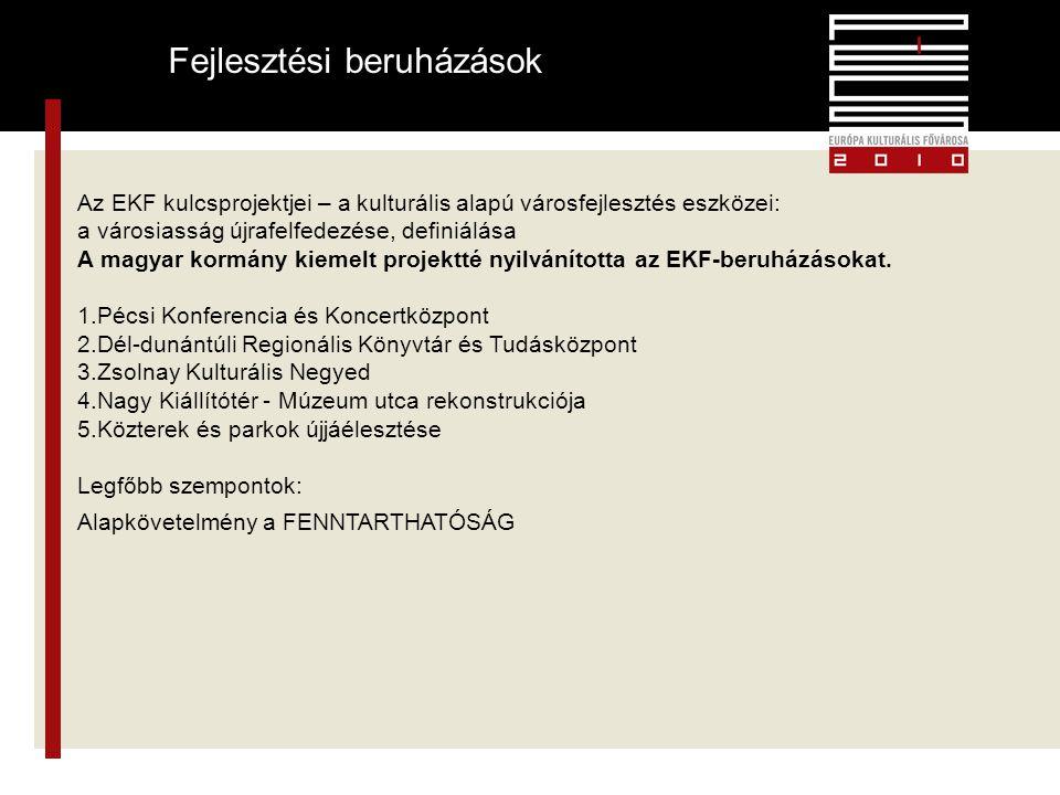 6 Fejlesztési beruházások Az EKF kulcsprojektjei – a kulturális alapú városfejlesztés eszközei: a városiasság újrafelfedezése, definiálása A magyar kormány kiemelt projektté nyilvánította az EKF-beruházásokat.