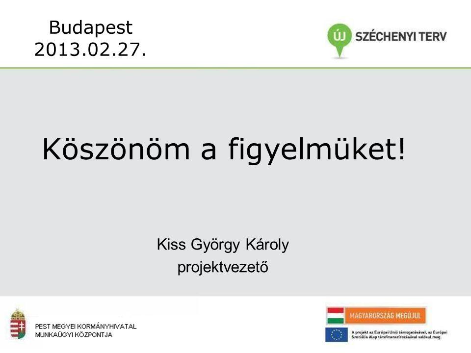 Köszönöm a figyelmüket! Budapest 2013.02.27. Kiss György Károly projektvezető