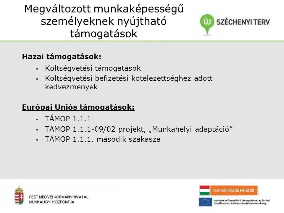 """Hazai támogatások: ▪ Költségvetési támogatások ▪ Költségvetési befizetési kötelezettséghez adott kedvezmények Európai Uniós támogatások: ▪ TÁMOP 1.1.1 ▪ TÁMOP 1.1.1-09/02 projekt, """"Munkahelyi adaptáció ▪ TÁMOP 1.1.1."""