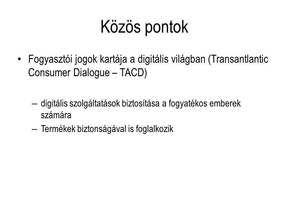 Közös pontok Fogyasztói jogok kartája a digitális világban (Transantlantic Consumer Dialogue – TACD) – digitális szolgáltatások biztosítása a fogyaték