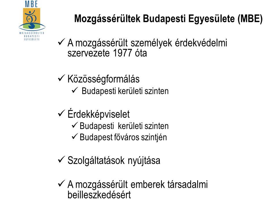 Mozgássérültek Budapesti Egyesülete (MBE) A mozgássérült személyek érdekvédelmi szervezete 1977 óta Közösségformálás Budapesti kerületi szinten Érdekk