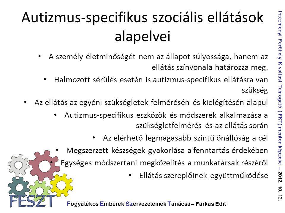 Autizmus-specifikus szociális ellátások alapelvei F ogyatékos E mberek Sz ervezeteinek T anácsa – Farkas Edit Intézményi Férőhely Kiváltást Támogató (