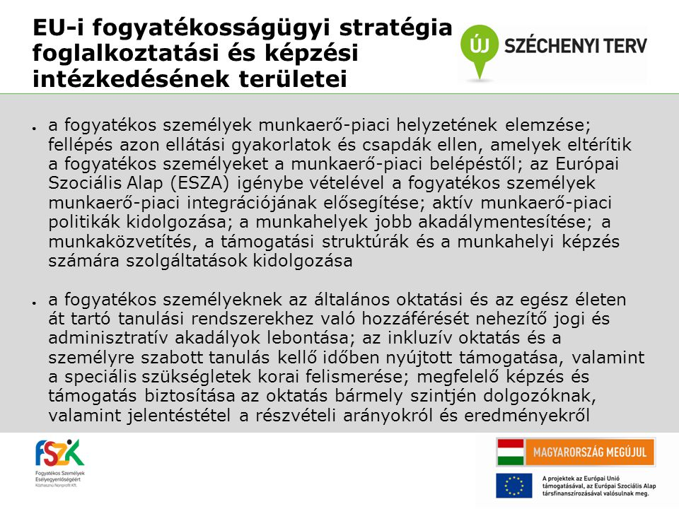 EU-i fogyatékosságügyi stratégia foglalkoztatási és képzési intézkedésének területei ● a fogyatékos személyek munkaerő-piaci helyzetének elemzése; fel