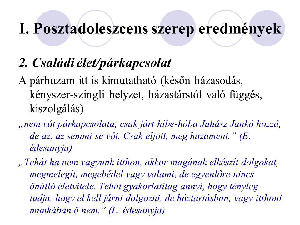 I. Posztadoleszcens szerep eredmények 2. Családi élet/párkapcsolat A párhuzam itt is kimutatható (későn házasodás, kényszer-szingli helyzet, házastárs