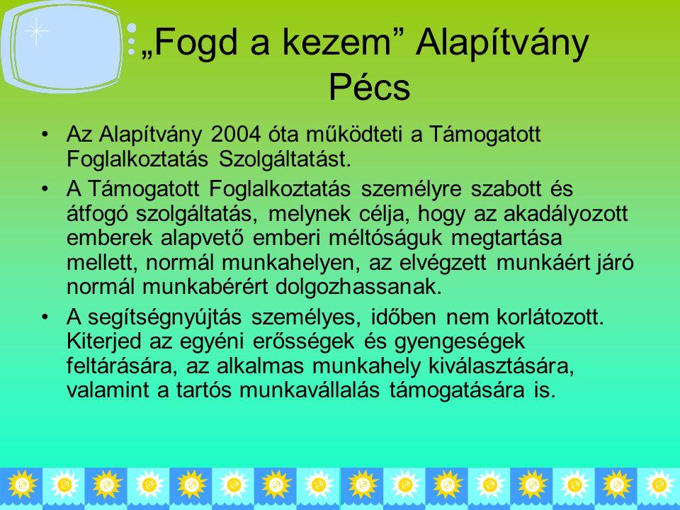 """""""Fogd a kezem Alapítvány Pécs Az Alapítvány 2004 óta működteti a Támogatott Foglalkoztatás Szolgáltatást."""