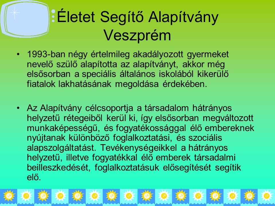 Életet Segítő Alapítvány Veszprém 1993-ban négy értelmileg akadályozott gyermeket nevelő szülő alapította az alapítványt, akkor még elsősorban a speciális általános iskolából kikerülő fiatalok lakhatásának megoldása érdekében.