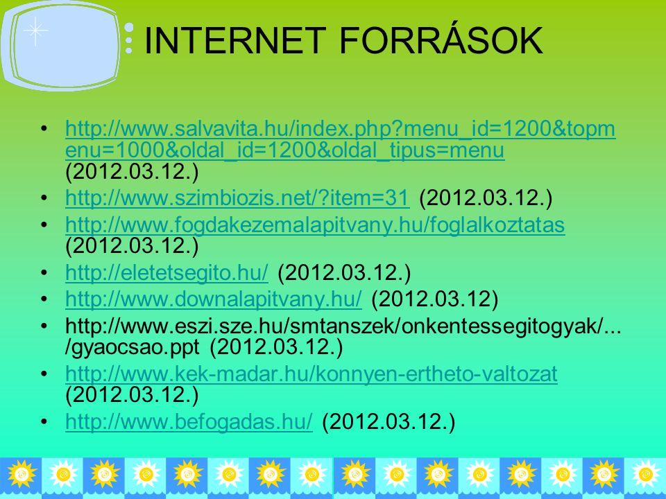 INTERNET FORRÁSOK http://www.salvavita.hu/index.php?menu_id=1200&topm enu=1000&oldal_id=1200&oldal_tipus=menu (2012.03.12.)http://www.salvavita.hu/index.php?menu_id=1200&topm enu=1000&oldal_id=1200&oldal_tipus=menu http://www.szimbiozis.net/?item=31 (2012.03.12.)http://www.szimbiozis.net/?item=31 http://www.fogdakezemalapitvany.hu/foglalkoztatas (2012.03.12.)http://www.fogdakezemalapitvany.hu/foglalkoztatas http://eletetsegito.hu/ (2012.03.12.)http://eletetsegito.hu/ http://www.downalapitvany.hu/ (2012.03.12)http://www.downalapitvany.hu/ http://www.eszi.sze.hu/smtanszek/onkentessegitogyak/...