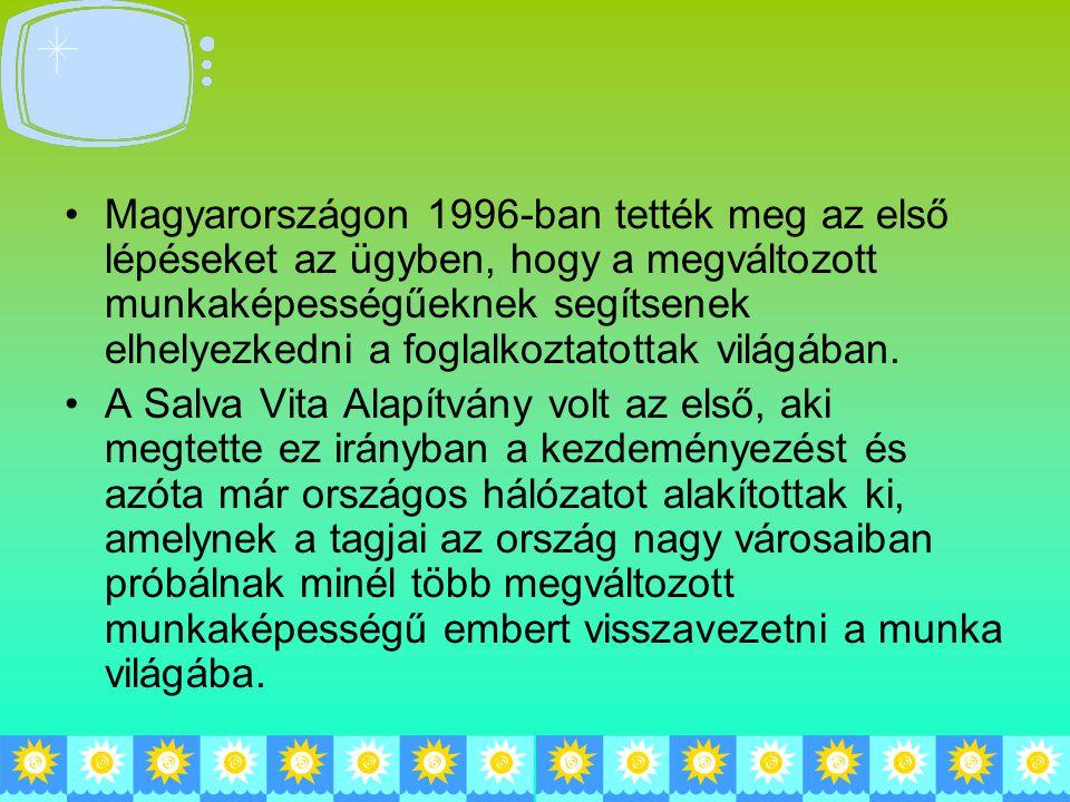 Magyarországon 1996-ban tették meg az első lépéseket az ügyben, hogy a megváltozott munkaképességűeknek segítsenek elhelyezkedni a foglalkoztatottak v