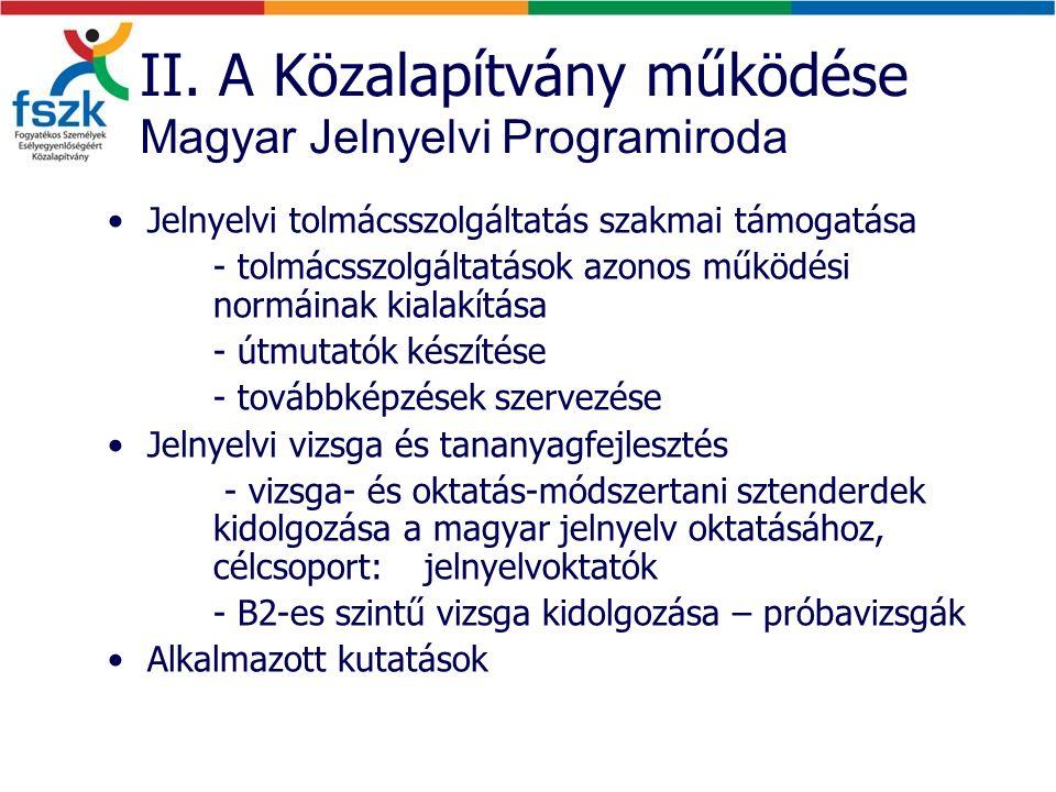 II. A Közalapítvány működése Magyar Jelnyelvi Programiroda Jelnyelvi tolmácsszolgáltatás szakmai támogatása - tolmácsszolgáltatások azonos működési no