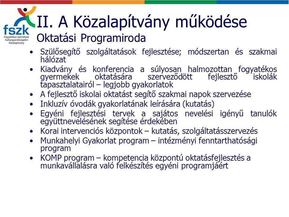II. A Közalapítvány működése Oktatási Programiroda Szülősegítő szolgáltatások fejlesztése; módszertan és szakmai hálózat Kiadvány és konferencia a súl