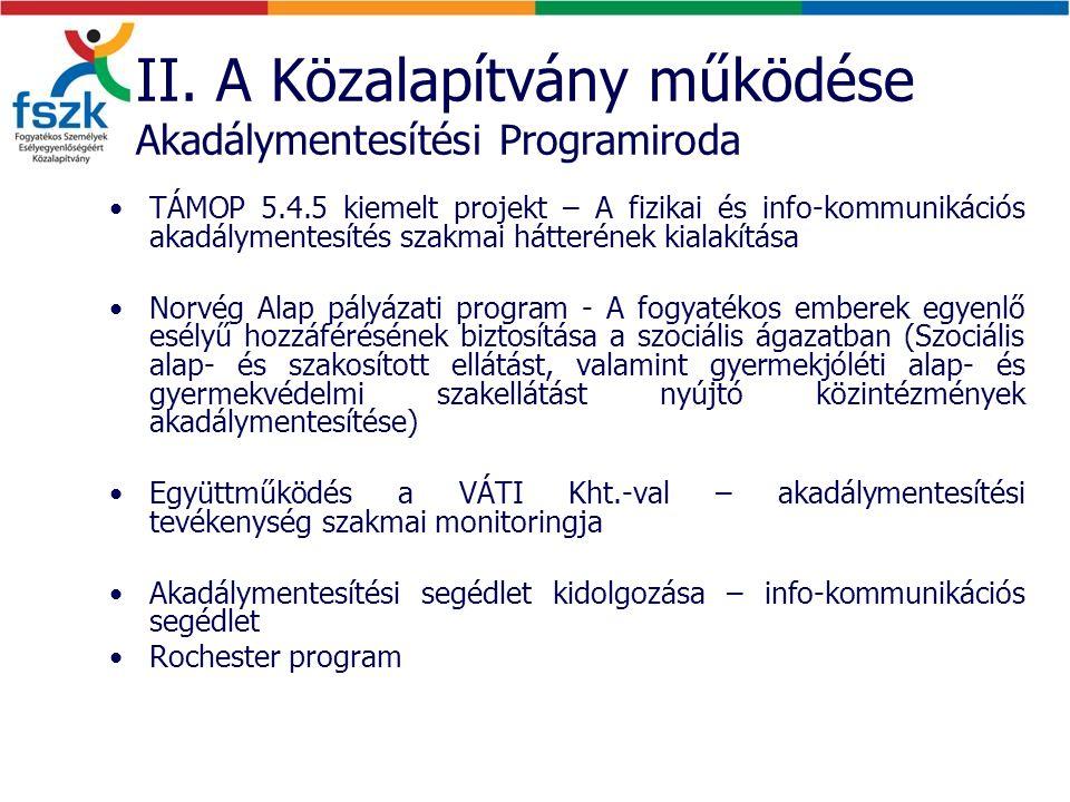 II. A Közalapítvány működése Akadálymentesítési Programiroda TÁMOP 5.4.5 kiemelt projekt – A fizikai és info-kommunikációs akadálymentesítés szakmai h