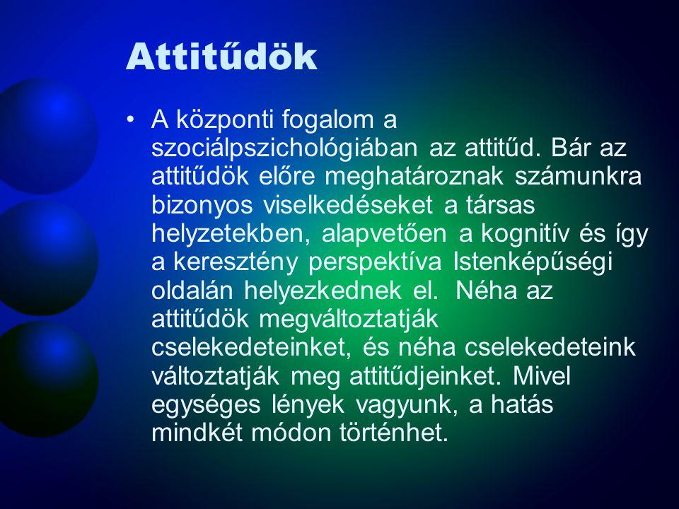 Attitűdök A központi fogalom a szociálpszichológiában az attitűd. Bár az attitűdök előre meghatároznak számunkra bizonyos viselkedéseket a társas hely