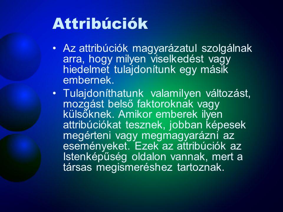 Attribúciók Az attribúciók magyarázatul szolgálnak arra, hogy milyen viselkedést vagy hiedelmet tulajdonítunk egy másik embernek. Tulajdoníthatunk val
