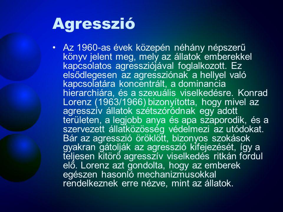 Agresszió Az 1960-as évek közepén néhány népszerű könyv jelent meg, mely az állatok emberekkel kapcsolatos agressziójával foglalkozott. Ez elsődlegese
