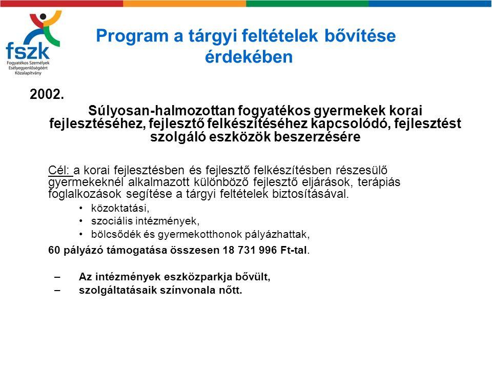 A szolgáltatáshoz való hozzáférést segítő program 2003.