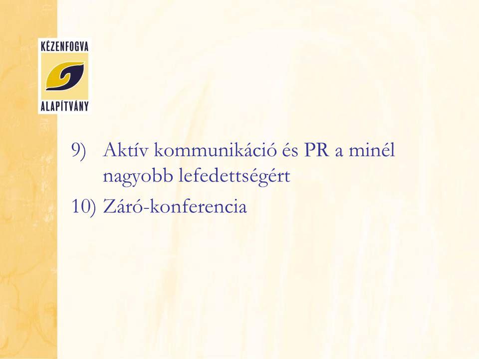 9)Aktív kommunikáció és PR a minél nagyobb lefedettségért 10)Záró-konferencia