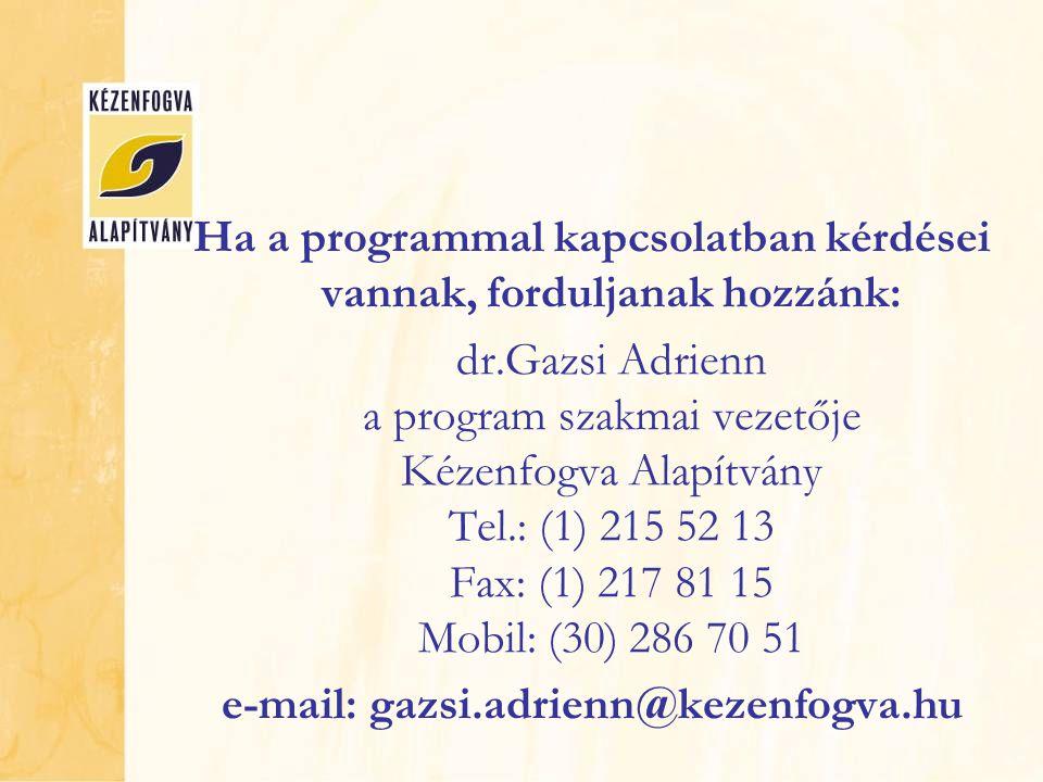 Ha a programmal kapcsolatban kérdései vannak, forduljanak hozzánk: dr.Gazsi Adrienn a program szakmai vezetője Kézenfogva Alapítvány Tel.: (1) 215 52 13 Fax: (1) 217 81 15 Mobil: (30) 286 70 51 e-mail: gazsi.adrienn@kezenfogva.hu