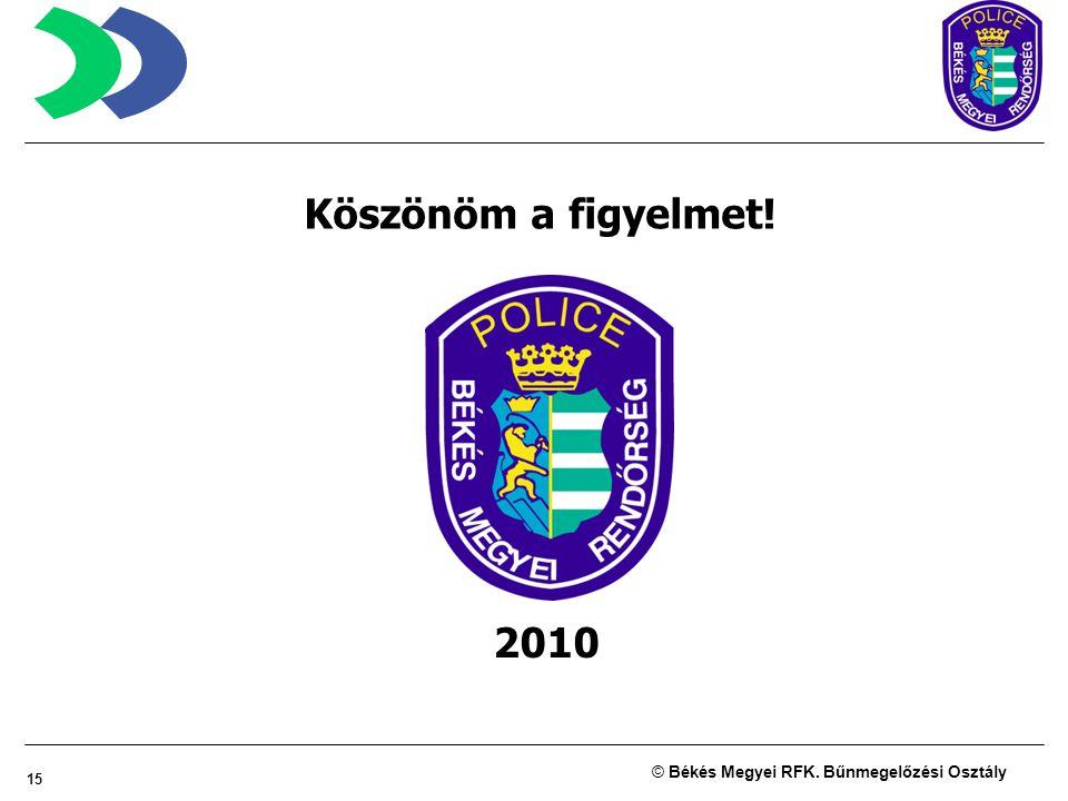 15 © Békés Megyei RFK. Bűnmegelőzési Osztály Köszönöm a figyelmet! 2010