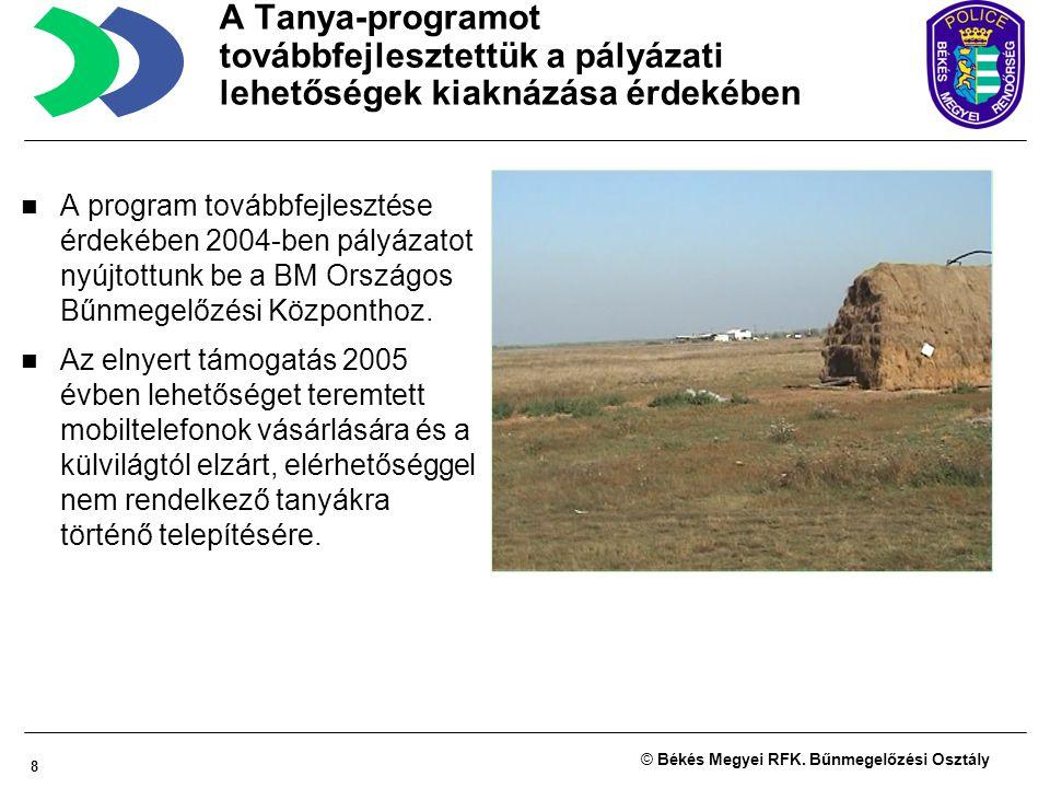 8 © Békés Megyei RFK. Bűnmegelőzési Osztály A program továbbfejlesztése érdekében 2004-ben pályázatot nyújtottunk be a BM Országos Bűnmegelőzési Közpo