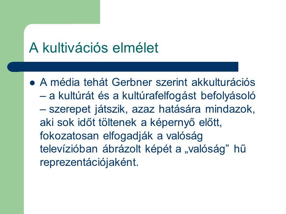 A kultivációs elmélet A média tehát Gerbner szerint akkulturációs – a kultúrát és a kultúrafelfogást befolyásoló – szerepet játszik, azaz hatására min