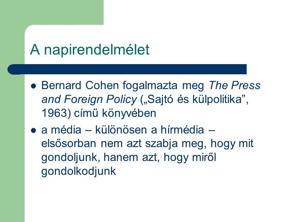"""A napirendelmélet Bernard Cohen fogalmazta meg The Press and Foreign Policy (""""Sajtó és külpolitika , 1963) című könyvében a média – különösen a hírmédia – elsősorban nem azt szabja meg, hogy mit gondoljunk, hanem azt, hogy miről gondolkodjunk"""