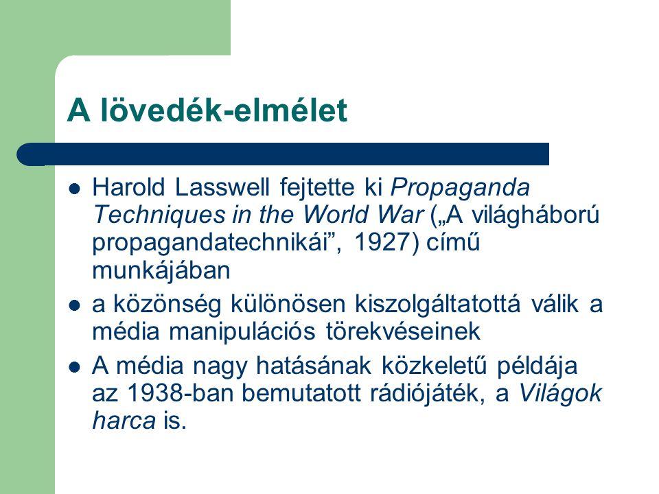 """A lövedék-elmélet Harold Lasswell fejtette ki Propaganda Techniques in the World War (""""A világháború propagandatechnikái , 1927) című munkájában a közönség különösen kiszolgáltatottá válik a média manipulációs törekvéseinek A média nagy hatásának közkeletű példája az 1938-ban bemutatott rádiójáték, a Világok harca is."""