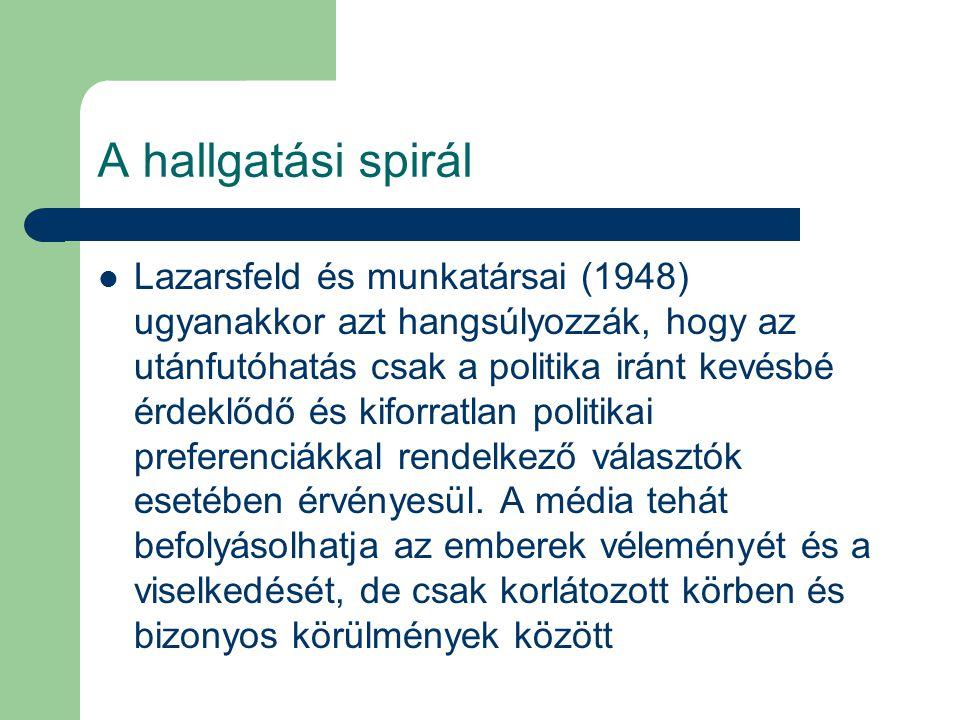 A hallgatási spirál Lazarsfeld és munkatársai (1948) ugyanakkor azt hangsúlyozzák, hogy az utánfutóhatás csak a politika iránt kevésbé érdeklődő és ki