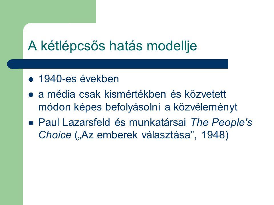 A kétlépcsős hatás modellje 1940-es években a média csak kismértékben és közvetett módon képes befolyásolni a közvéleményt Paul Lazarsfeld és munkatár