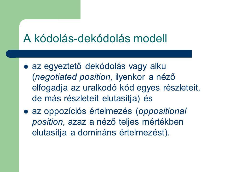A kódolás-dekódolás modell az egyeztető dekódolás vagy alku (negotiated position, ilyenkor a néző elfogadja az uralkodó kód egyes részleteit, de más r