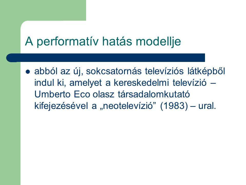 A performatív hatás modellje abból az új, sokcsatornás televíziós látképből indul ki, amelyet a kereskedelmi televízió – Umberto Eco olasz társadalomk