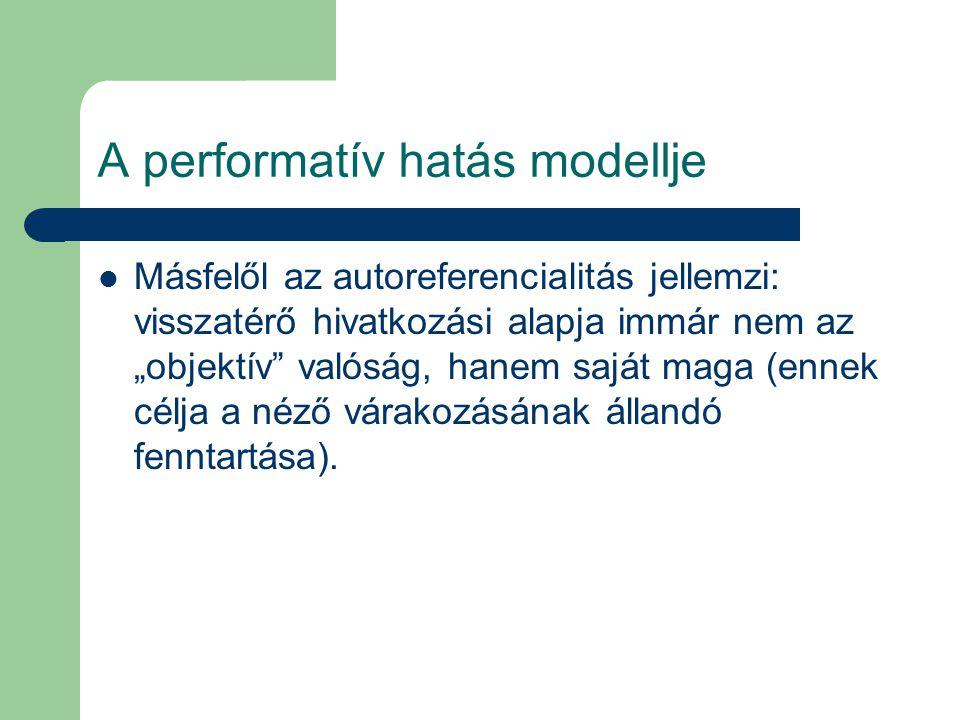 """A performatív hatás modellje Másfelől az autoreferencialitás jellemzi: visszatérő hivatkozási alapja immár nem az """"objektív"""" valóság, hanem saját maga"""