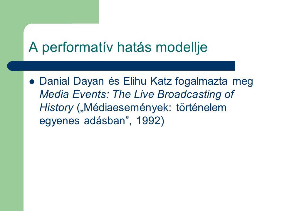 """A performatív hatás modellje Danial Dayan és Elihu Katz fogalmazta meg Media Events: The Live Broadcasting of History (""""Médiaesemények: történelem egy"""