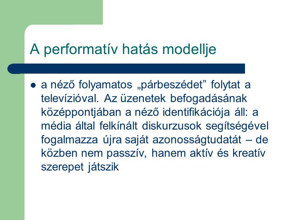 """A performatív hatás modellje a néző folyamatos """"párbeszédet"""" folytat a televízióval. Az üzenetek befogadásának középpontjában a néző identifikációja á"""
