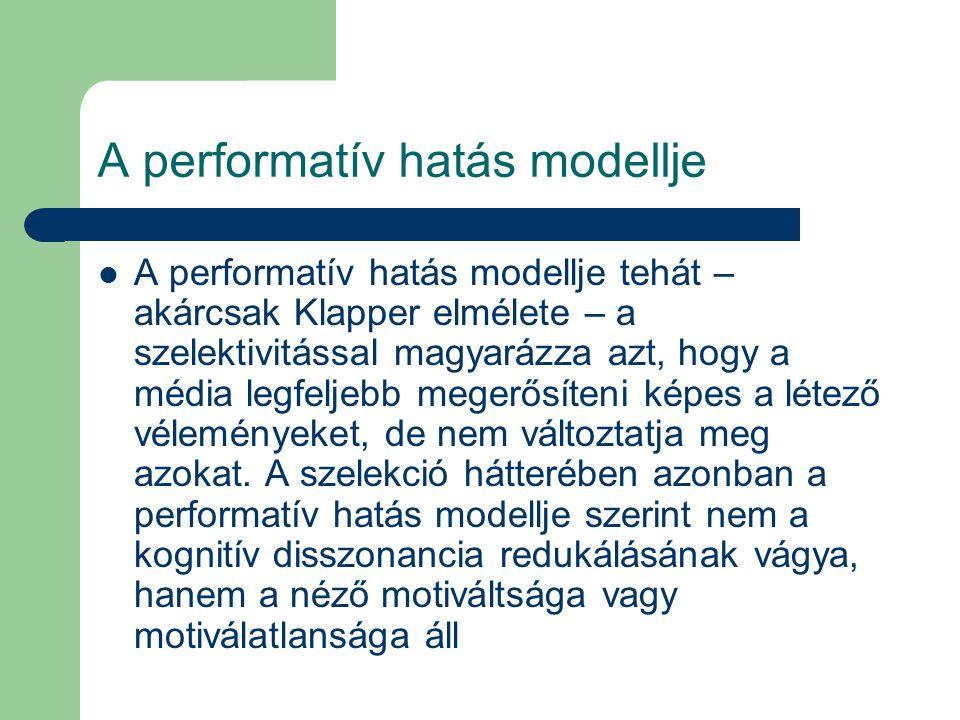 A performatív hatás modellje A performatív hatás modellje tehát – akárcsak Klapper elmélete – a szelektivitással magyarázza azt, hogy a média legfeljebb megerősíteni képes a létező véleményeket, de nem változtatja meg azokat.