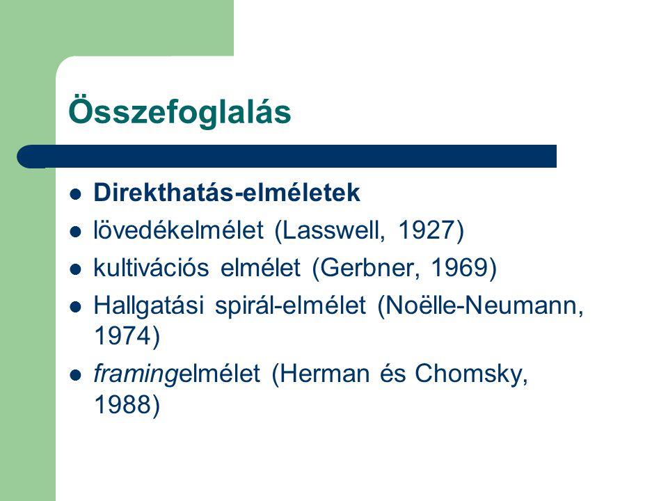 Összefoglalás Direkthatás-elméletek lövedékelmélet (Lasswell, 1927) kultivációs elmélet (Gerbner, 1969) Hallgatási spirál-elmélet (Noëlle-Neumann, 1974) framingelmélet (Herman és Chomsky, 1988)
