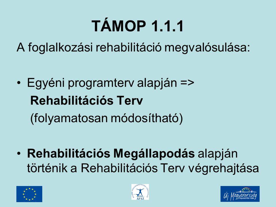 TÁMOP 1.1.1 Programelemek: Egyénnek nyújtható: - Képzés támogatása - Munkaerő-piaci szolgáltatások - Vállalkozóvá válás támogatása - Utazási költségtérítés munkába járáshoz - Foglalkozás-egészségügyi vizsgálat - Képzési alkalmassági vizsgálat - Rehabilitációs mentori szolgáltatás