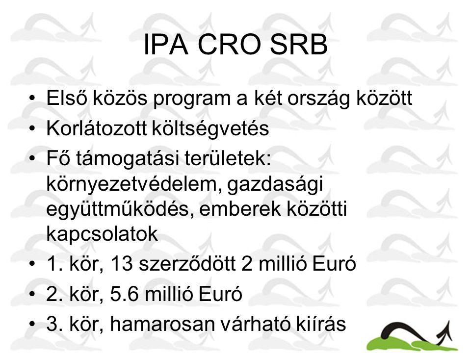 IPA CRO SRB Első közös program a két ország között Korlátozott költségvetés Fő támogatási területek: környezetvédelem, gazdasági együttműködés, embere