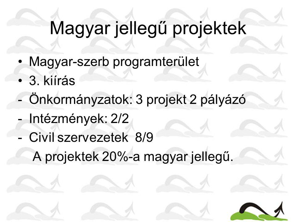 Magyar jellegű projektek Magyar-szerb programterület 3. kiírás -Önkormányzatok: 3 projekt 2 pályázó -Intézmények: 2/2 -Civil szervezetek 8/9 A projekt