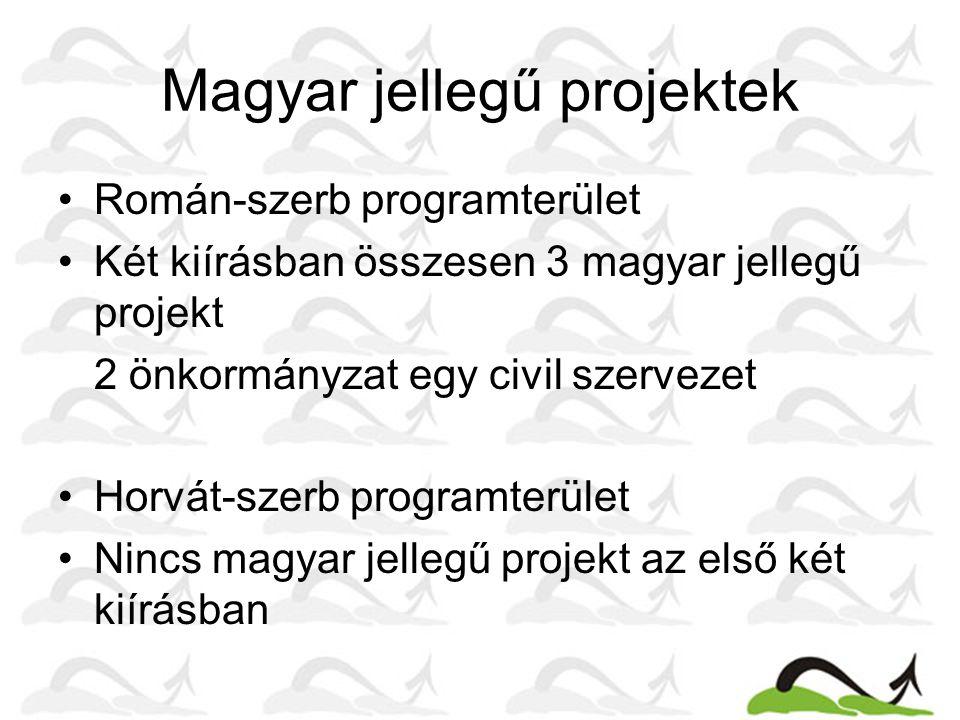 Magyar jellegű projektek Román-szerb programterület Két kiírásban összesen 3 magyar jellegű projekt 2 önkormányzat egy civil szervezet Horvát-szerb programterület Nincs magyar jellegű projekt az első két kiírásban