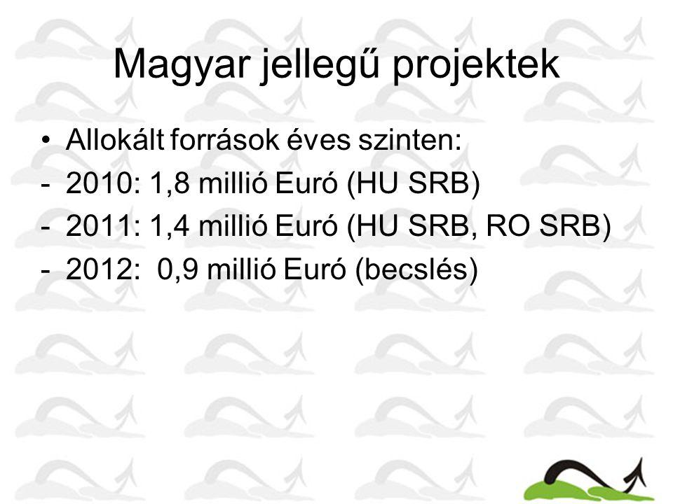 Magyar jellegű projektek Allokált források éves szinten: -2010: 1,8 millió Euró (HU SRB) -2011: 1,4 millió Euró (HU SRB, RO SRB) -2012: 0,9 millió Euró (becslés)
