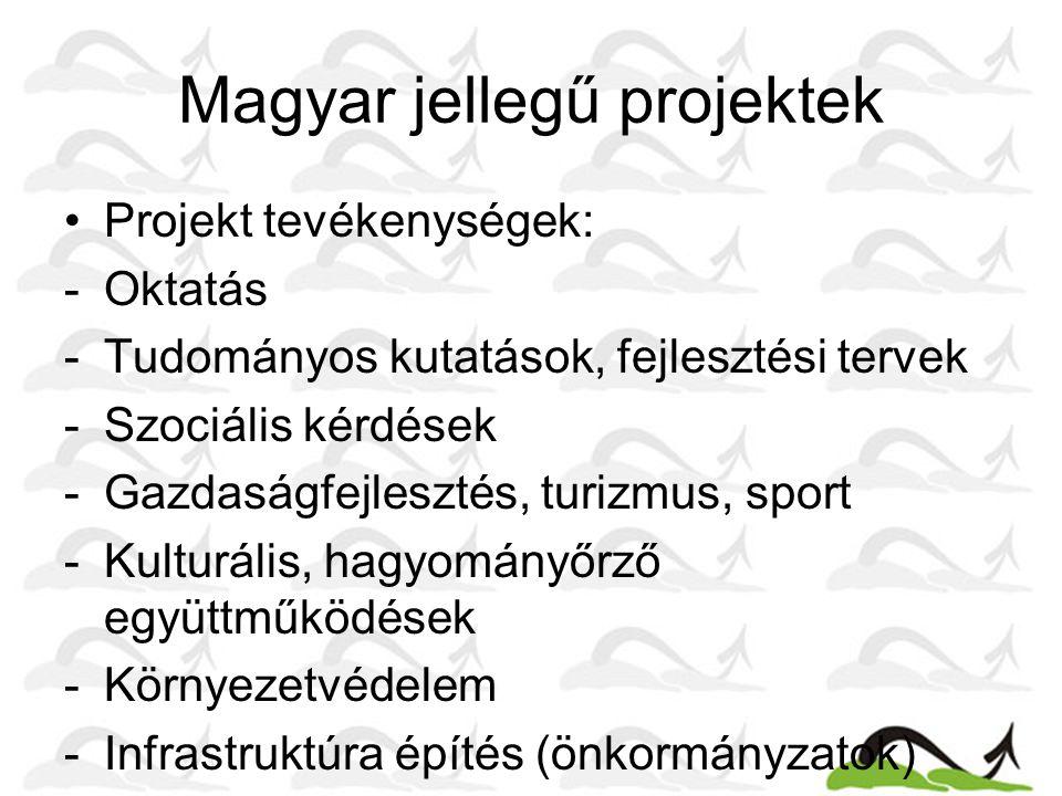 Magyar jellegű projektek Projekt tevékenységek: -Oktatás -Tudományos kutatások, fejlesztési tervek -Szociális kérdések -Gazdaságfejlesztés, turizmus, sport -Kulturális, hagyományőrző együttműködések -Környezetvédelem -Infrastruktúra építés (önkormányzatok)