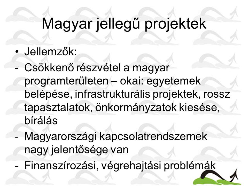 Magyar jellegű projektek Jellemzők: -Csökkenő részvétel a magyar programterületen – okai: egyetemek belépése, infrastrukturális projektek, rossz tapasztalatok, önkormányzatok kiesése, bírálás -Magyarországi kapcsolatrendszernek nagy jelentősége van -Finanszírozási, végrehajtási problémák