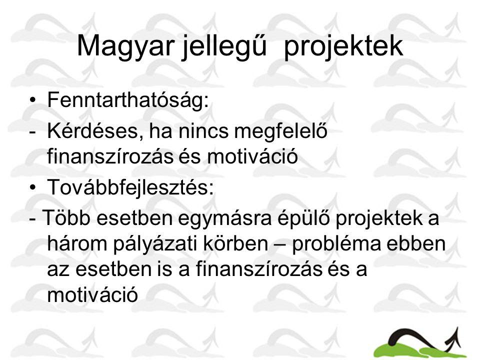 Magyar jellegű projektek Fenntarthatóság: -Kérdéses, ha nincs megfelelő finanszírozás és motiváció Továbbfejlesztés: - Több esetben egymásra épülő projektek a három pályázati körben – probléma ebben az esetben is a finanszírozás és a motiváció