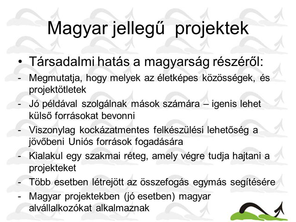 Magyar jellegű projektek Társadalmi hatás a magyarság részéről: -Megmutatja, hogy melyek az életképes közösségek, és projektötletek -Jó példával szolg