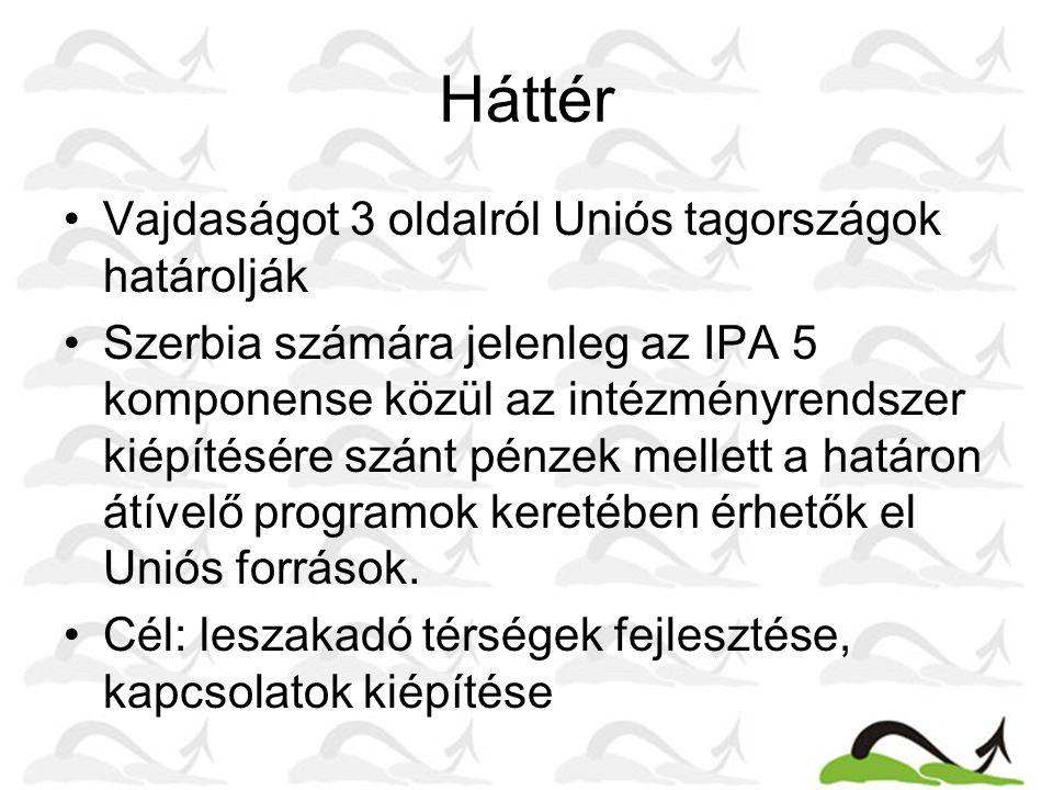 Háttér Vajdaságot 3 oldalról Uniós tagországok határolják Szerbia számára jelenleg az IPA 5 komponense közül az intézményrendszer kiépítésére szánt pé