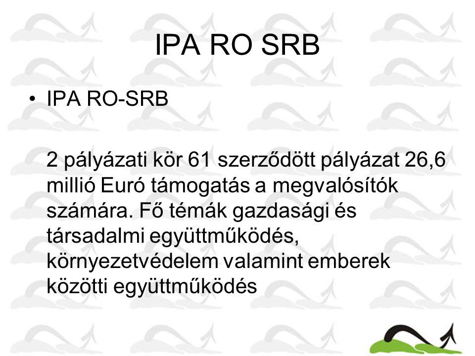 IPA RO SRB IPA RO-SRB 2 pályázati kör 61 szerződött pályázat 26,6 millió Euró támogatás a megvalósítók számára. Fő témák gazdasági és társadalmi együt